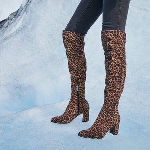 NIB Marc Fisher Luley Over Knee Boots Leopard 8M